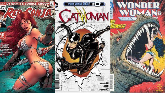 De izquierda a derecha: la heroína Red Sonja en una pose dolorosa; la ambigua Catwoman en una imagen...
