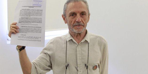 Luis Suárez-Carreño, vÍctima de la represiónn franquista, tras la rueda de prensa en la que ha explicado...