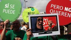 Escrache a Rajoy con pantallas de