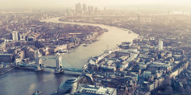 View from the Shard of Tower Bridge, Canary Wharf and the river Thames,