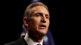 FILE - In this Feb. 7, 2019, file photo, former Starbucks CEO Howard Schultz speaks at Purdue University in West Lafayette, Ind. Former Starbucks CEO Howard Schultz, who is considering an independent bid for president, is apologizing for saying he had likely spent more time with the military than the other candidates. Schultz made the comments during an interview Thursday, March 14, 2019, with Hugh Hewitt, a conservative radio host. (AP Photo/Michael Conroy, File)