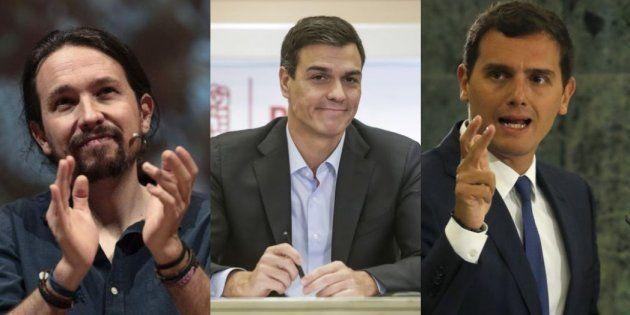 Pablo Iglesias, Pedro Sánchez y Albert