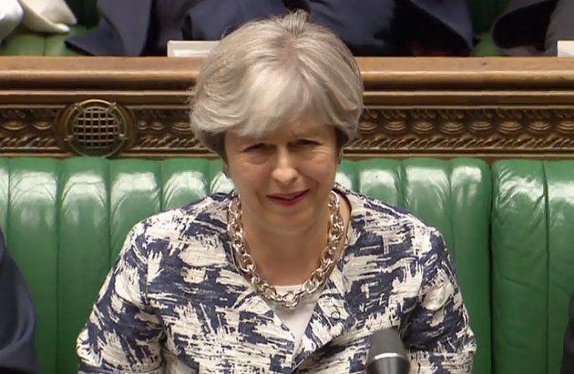 Theresa May este lunes en el Parlamento