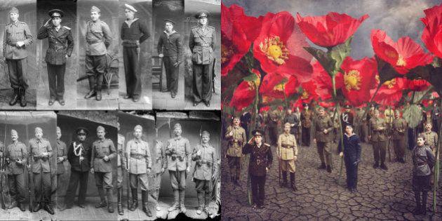 Una artista convierte imágenes de la Primera Guerra Mundial en mundos fantásticos