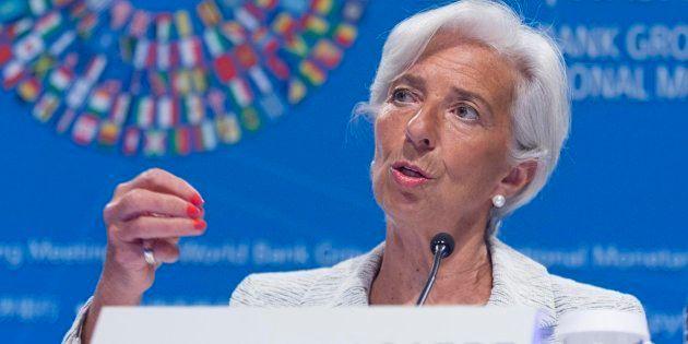 La directora gerente del Fondo Monetario Internacional (FMI), Christine Lagarde, durante una rueda de...