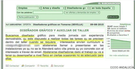 CCOO denuncia a una empresa de Tomares por publicar una oferta de trabajo