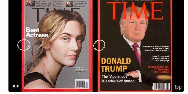 La portada verdadera (izquierda) y la falsa (derecha), que Trump usa para decorar las paredes de sus...