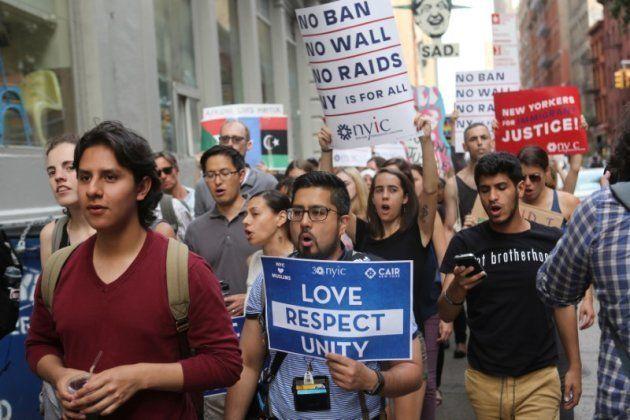 Protesta contra el veto migratorio en Nueva