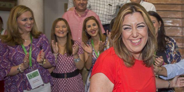 Susana Díaz, esta tarde en su comparecencia ante simpatizantes y militantes en