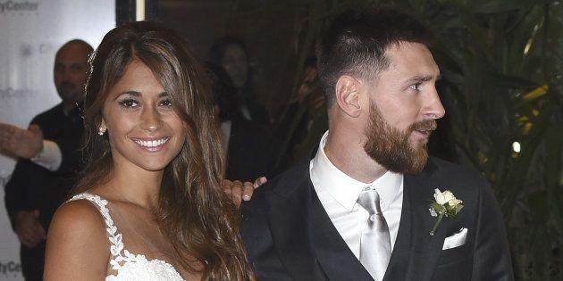 Lionel Messi y Antonella Roccuzzo tras su boda, el 30 de junio de 2017 en Rosario,