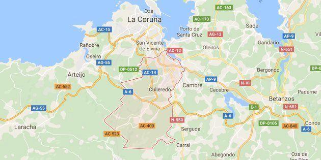 Mapa de localización de la localidad coruñesa de