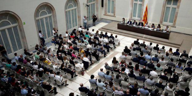 Vista general del acto que celebrado esta mañana para presentar la futura Ley del Referéndum de Autodeterminación,...