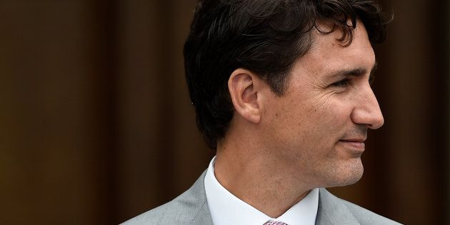 Canada's Prime Minister Justin Trudeau speaks at a press conference with Taoiseach Leo Varadkar at Farmleigh...