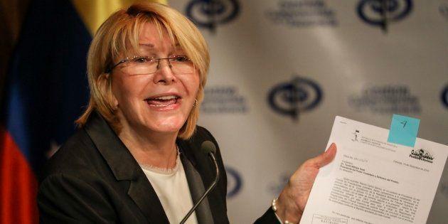 La fiscal general venezolana, Luisa Ortega Díaz, durante su rueda de prensa de hoy en