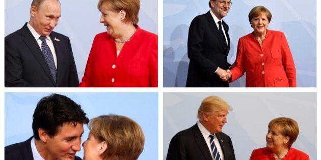 Combo con las imágenes del momento en el que la canciller alemana recibe a los líderes mundiales en la...