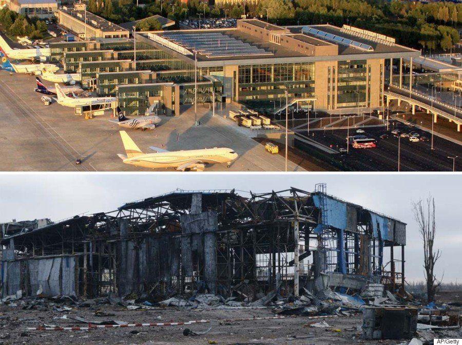 El aeropuerto de Donetsk, reducido a una carcasa calcinada tras meses de