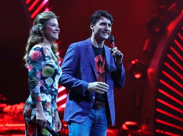 Sophie y Justin Trudeau en el concierto previo al