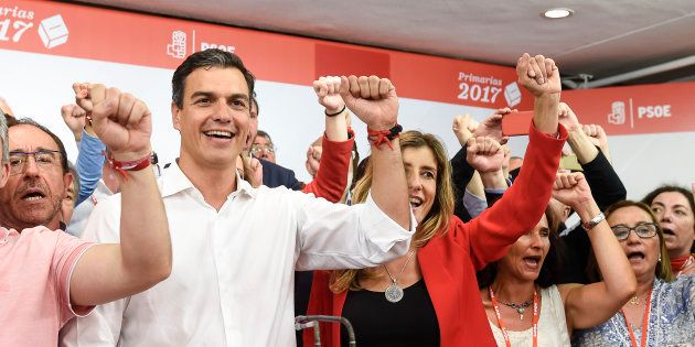 Pedro Sánchez tras su victoria en las primarias del 21 de