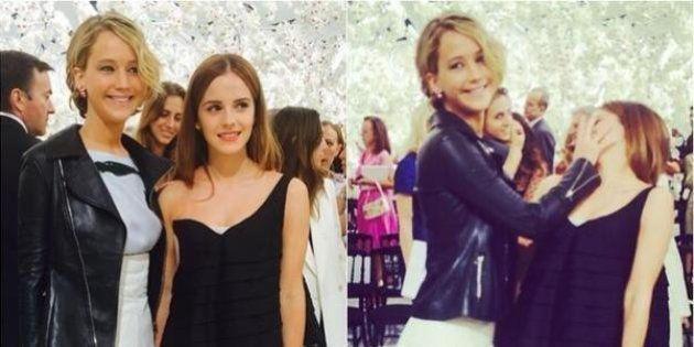 La broma de Jennifer Lawrence a Emma Watson en el desfile de Dior en París