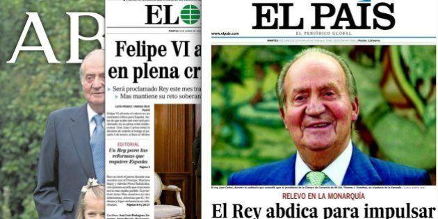 La abdicación del rey en las portadas de los periódicos