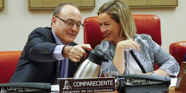 El gobernador del Banco de España, Luis María Linde, junto a la portavoz de Coalión Canaria en el Congreso,...