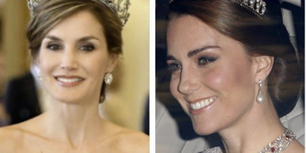 La reina Letizia y Catalina de Cambridge en la cena de estado ofrecida en el palacio de Buckingham a...