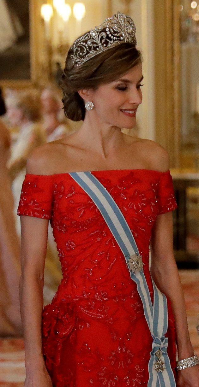 La reina Letizia, en la cena de Estado celebrada en el palacio de Buckingham el 12 de julio de