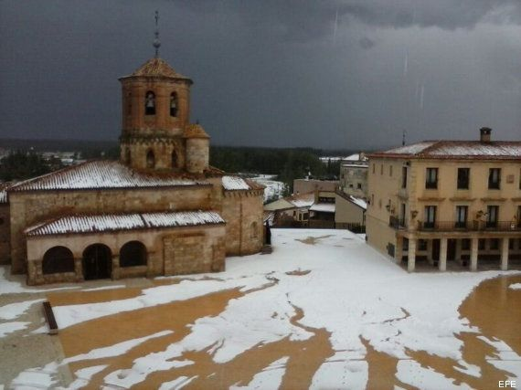 El granizo, protagonista del temporal que cruza España (FOTOS,