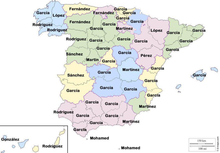 Los nombres y apellidos más frecuentes en España
