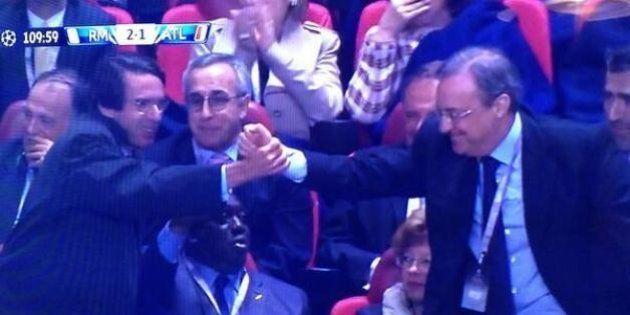 El saludo de Aznar y Florentino Pérez: también ha sido una de las imágenes de la