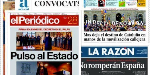 La convocatoria de la consulta catalana en las portadas