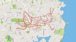 Una bici, un GPS... y ahí tienes, un dibujo sobre el