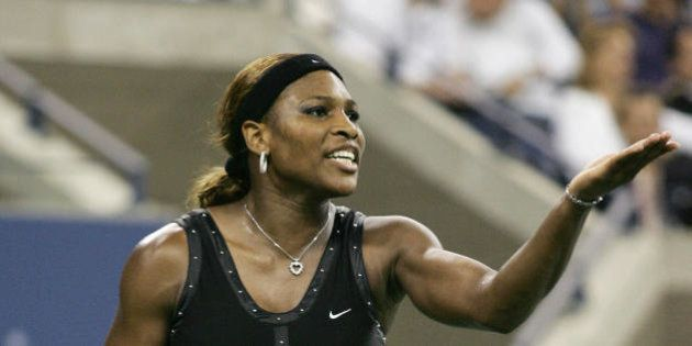 FLUSHING MEADOWS, UNITED STATES: Serena Williams of the US complains about a call during her match against...