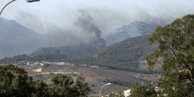 Gran incendio en el monte Gurugú al borde de