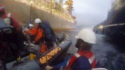 Un herido en un altercado entre la Armada y Greenpeace en Canarias