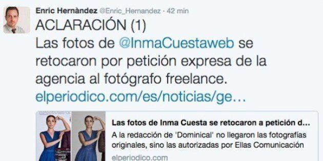 'El Periódico' pide disculpas a Inma Cuesta por el retoque excesivo de sus