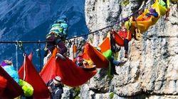El festival más espectacular: colgados en hamacas en los Alpes