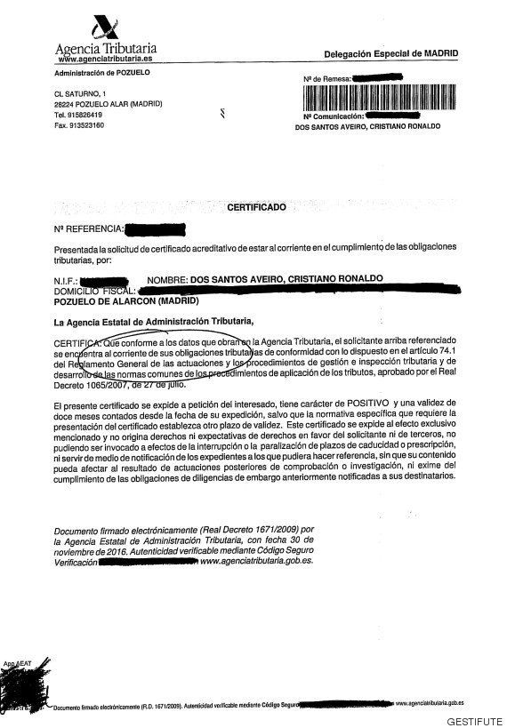 Cristiano se defiende: presenta un documento que dice que está al día con