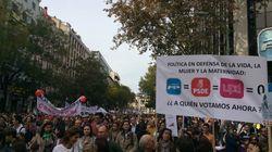 Las pancartas de la manifestación contra el aborto