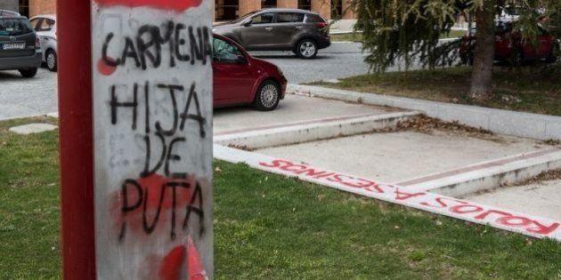 Pintadas fascistas contra Carmena en el monumento a las Brigadas Internacionales de la