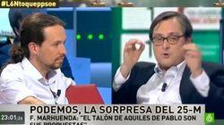El reencuentro de Pablo Iglesias con Marhuenda tras las elecciones