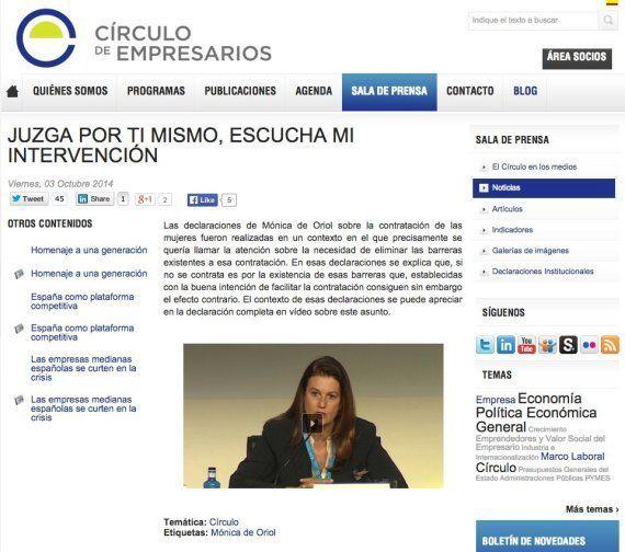 Mónica de Oriol dice que quiso defender la supresión de