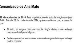 Este es el comunicado de la dimisión de Ana