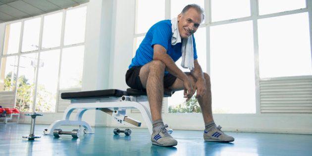 Man sitting on exercise