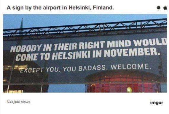 El genial cartel de bienvenida del aeropuerto de