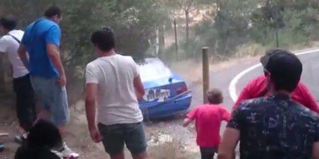 Cuatro heridos graves en un accidente en un rally en