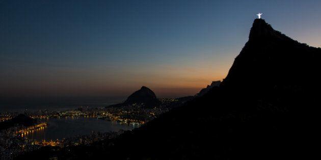 RIO DE JANEIRO, BRAZIL - JULY 06: View of the Christ the Redeemer and the Rodrigo de Freitas Lagoon during...