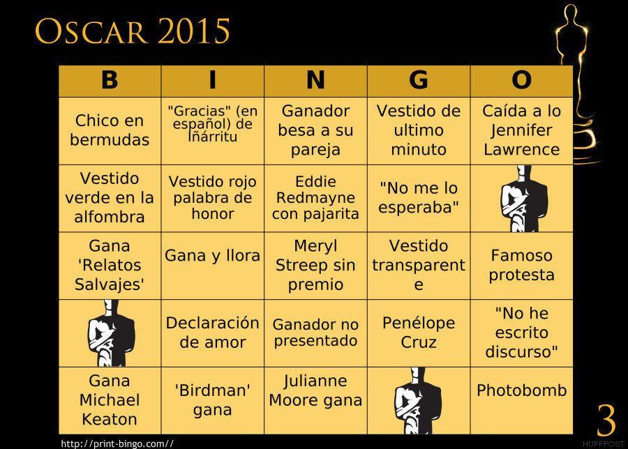 El bingo de los Oscar 2015: prepárate para jugar