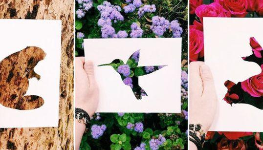 El artista que colorea animales con flores, hojas y