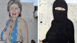 La historia detrás de la transformación de este graffiti de Hillary